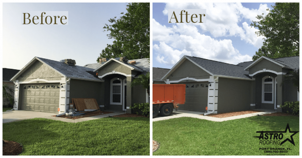 Before and after of Port Orange home roofing shingles by Astro