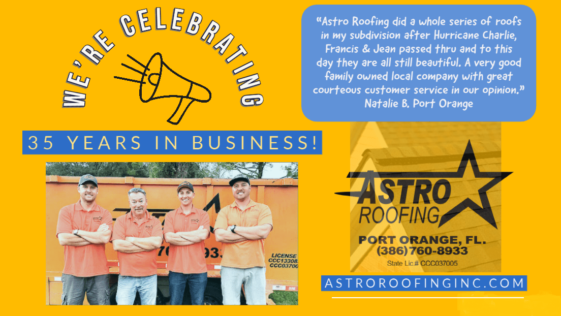 Astro Roofing celebrates 35 years in business