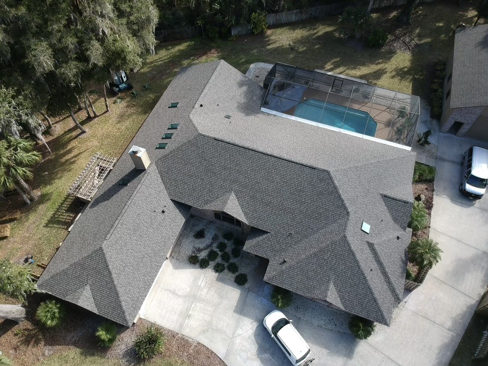 Aerial view Weathered Wood Ormond Beach roof by Astro